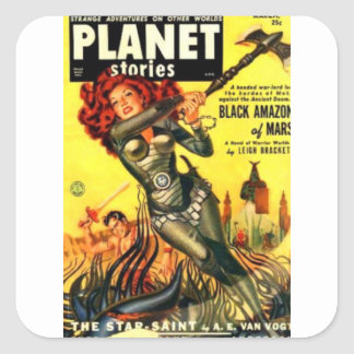 Warrier Maiden on Mars Square Sticker