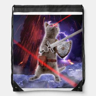 warrior cats - knight cat - cat laser drawstring bag