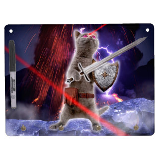 warrior cats - knight cat - cat laser dry erase board with keychain holder