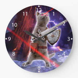warrior cats - knight cat - cat laser large clock