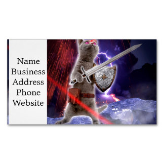 warrior cats - knight cat - cat laser magnetic business card