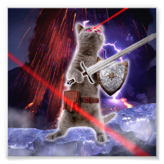 warrior cats - knight cat - cat laser photo print