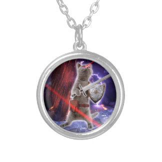 warrior cats - knight cat - cat laser silver plated necklace