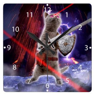 warrior cats - knight cat - cat laser square wall clock