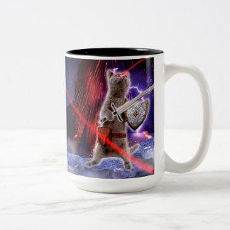 warrior cats - knight cat - cat laser Two-Tone coffee mug
