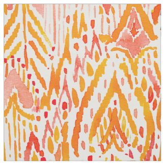 WARRIOR FIRE Boho Chic Ikat Tribal Watercolor Fabric