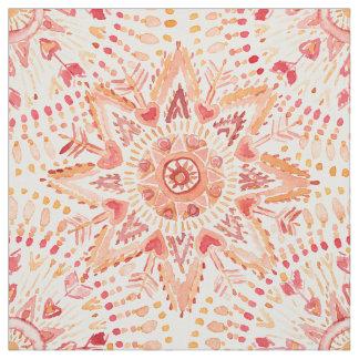 WARRIOR FIRE Watercolor Mandala Fabric