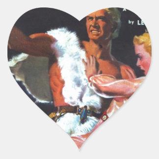 Warrior in White Fur Heart Sticker