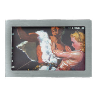 Warrior in White Fur Rectangular Belt Buckles