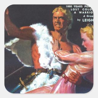 Warrior in White Fur Square Sticker