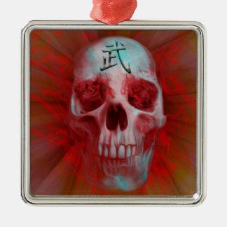 Warrior Kanji skull Metal Ornament
