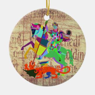Warrior Kills a Dragon Ceramic Ornament