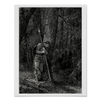 Warrior leaning against a tree poster