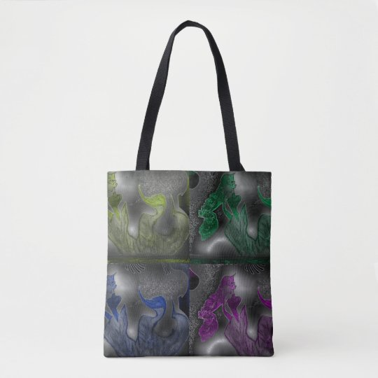 Warrior Mermaid (colours) Tote Bag