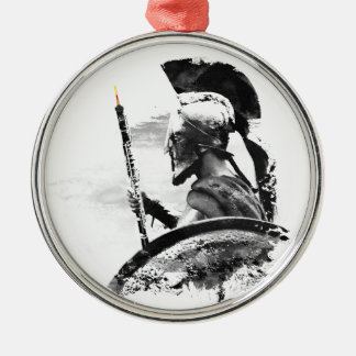 Warrior Oboe Player Silver-Colored Round Ornament