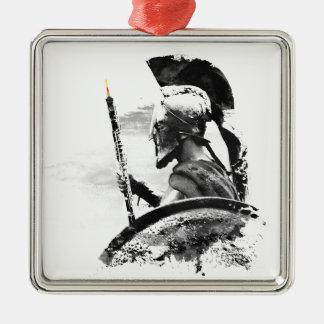 Warrior Oboe Player Silver-Colored Square Ornament