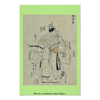 Warrior or nobleman archer Ukiyo-e. Poster