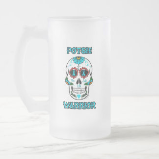 Warrior/Sugar skull...P.O.T.S. Frosted Glass Beer Mug