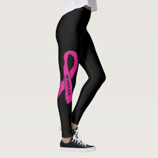 Warrior/ torn ribbon...Breast Cancer Leggings
