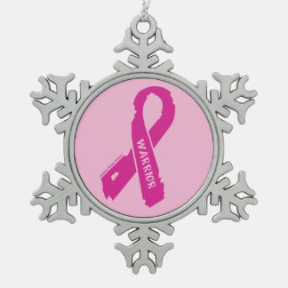 Warrior/ torn ribbon...Breast Cancer Snowflake Pewter Christmas Ornament
