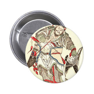 Warrior - Totoya Hokkei 魚屋 北渓 2 Inch Round Button