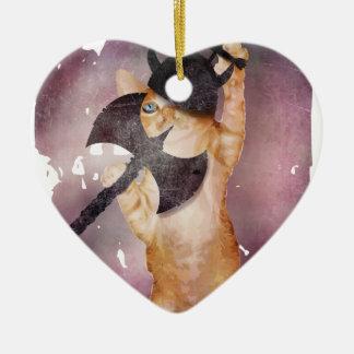 Warrior Viking Cat Kitten Funny Ceramic Heart Ornament