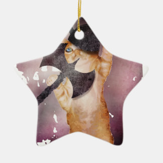 Warrior Viking Cat Kitten Funny Ceramic Star Ornament