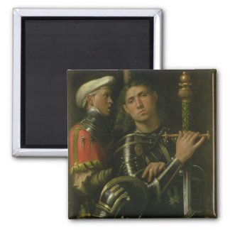 Warrior with Groom (oil) Square Magnet
