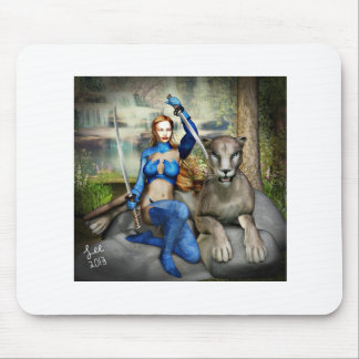 warrior woman and her cat mouse pad