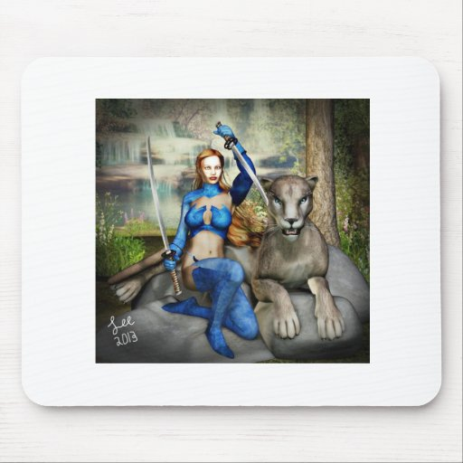 warrior woman and her cat mousepad