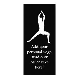 Warrior Yoga Pose Silhouette Black and White Rack Card