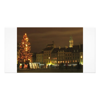 Warsaw Old Town at Christmas Customized Photo Card