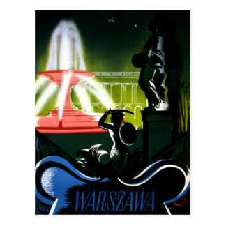 Warsaw Poland Vintage Travel Poster Restored Postcard