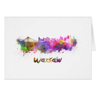 Warsaw skyline in watercolor card