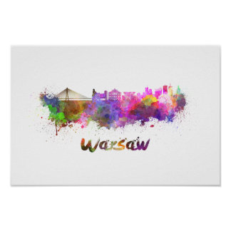 Warsaw skyline in watercolor poster