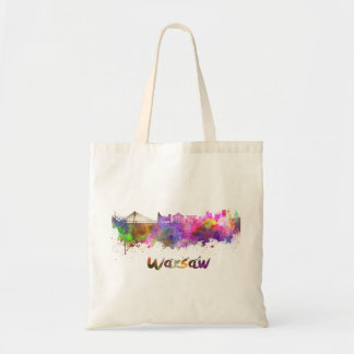 Warsaw skyline in watercolor tote bag