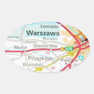 Warsaw, Warszawa  in Poland Oval Sticker