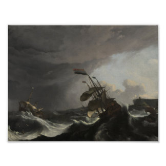 Warships in a Heavy Storm, Ludolf Bakhuysen, c. 16 Poster
