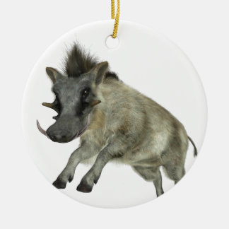 Warthog Jumping to Right Round Ceramic Ornament