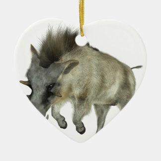 Warthog Running to Right Ceramic Heart Ornament