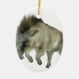 Warthog Running to Right Ceramic Oval Ornament