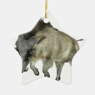 Warthog Running to Right Ceramic Star Ornament