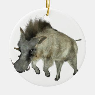 Warthog Running to Right Round Ceramic Ornament