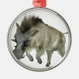 Warthog Running to Right Silver-Colored Round Ornament