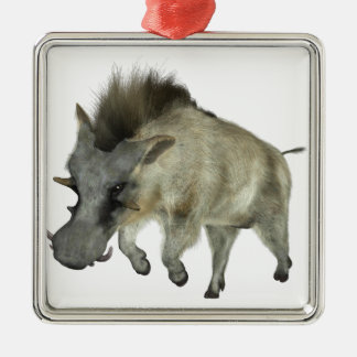 Warthog Running to Right Silver-Colored Square Ornament