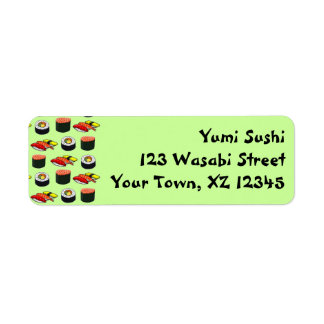 Wasabi Green Sushi Return Address Label