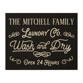 Wash and Dry Laundry Vintage Sign Family Name