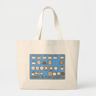 WASH AND IRON POETRY PICTOGRAMS LARGE TOTE BAG