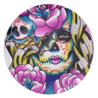 Wash Away Day of the Dead Girl Plate