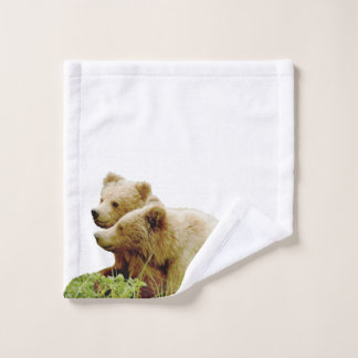 wash cloth w/ grizzly bear  cubs